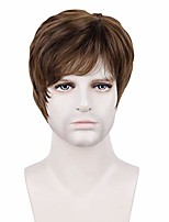 cheap -halloweencostumes creamily men short brown wigs male guy layered wavy halloween cosplay anime party father's day gifts for dad hair brown
