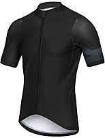 cheap -21Grams Men's Short Sleeve Cycling Jersey Summer Spandex Polyester Black Solid Color Bike Jersey Top Mountain Bike MTB Road Bike Cycling Quick Dry Moisture Wicking Breathable Sports Clothing Apparel