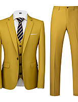 cheap -Men's Party / Evening Suits Notch Tailored Fit Single Breasted One-button Straight Flapped Solid Color Polyester