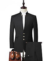 cheap -Men's Party / Evening Suits Notch Slim Fit Single Breasted Three-buttons Solid Color Cotton