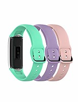 cheap -Smart watch band compatible with samsung galaxy fit 2019, fitness band sport metal secure fastener for sm-r370 smartwatch (pink-purple-teal)