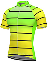 cheap -21Grams Men's Short Sleeve Cycling Jersey Summer Spandex Polyester Yellow Stripes Gradient Bike Jersey Top Mountain Bike MTB Road Bike Cycling Quick Dry Moisture Wicking Breathable Sports Clothing
