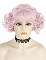 cheap -anogol wig cap+short pink wavy wig with bangs for women comic synthetic wig for anime