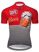cheap -21Grams Men's Short Sleeve Cycling Jersey Summer Spandex Polyester Red Stripes Bike Jersey Top Mountain Bike MTB Road Bike Cycling Quick Dry Moisture Wicking Breathable Sports Clothing Apparel