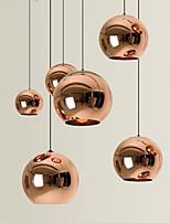 cheap -LED Pendant Light Rose Gold Globe Design Kitchen Island Light 15cm 20cm 25cm Single Desgin Metal Electroplated Modern Dining Room Living Room 110-120V 220-240V
