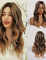 cheap -tiny lana long wavy wigs middle part synthetic hair wigs natural looking shoulder length wigs for daily party use wig included (omber brown)