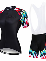 cheap -CAWANFLY Women's Short Sleeve Cycling Padded Shorts Cycling Jersey with Bib Shorts Cycling Jersey with Shorts Summer Spandex Black / Red Black Black+White Bike Shorts Breathable Sports Geometic