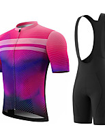 cheap -Men's Short Sleeve Cycling Jersey with Bib Shorts Summer Spandex Polyester Rose Red Rainbow Stripes Bike Clothing Suit 3D Pad Quick Dry Breathable Sports Rainbow Mountain Bike MTB Road Bike Cycling