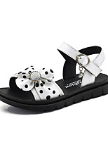 cheap -Girls' Sandals Comfort Cowhide Little Kids(4-7ys) Big Kids(7years +) Daily Rhinestone White Black Pink Spring