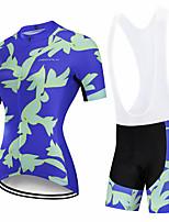 cheap -CAWANFLY Women's Short Sleeve Cycling Padded Shorts Cycling Jersey with Bib Shorts Cycling Jersey with Shorts Summer Spandex Blue Blue+White Black / Blue Bike Shorts Breathable Sports Geometic