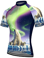 cheap -21Grams Men's Short Sleeve Cycling Jersey Summer Spandex Polyester Purple Polar Bear Animal Bike Jersey Top Mountain Bike MTB Road Bike Cycling Quick Dry Moisture Wicking Breathable Sports Clothing