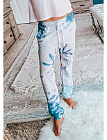 cheap -Women's Home Polyester Pant everyday Pajamas Short Sleeve Print Spring & Summer Print S White