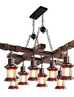 cheap -LED Pendant Light Vintage Chandelier Wood 8-Light 100cm Industrial Wooden Chandelier Metal Chandelier Retro Chandelier Glass Shade Suitable for Billiard Table Kitchen Island Bar Height Adjustable Chandelier E27 AC220V E26 AC110V