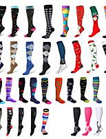 cheap -Sport Compression Stockings Funny Pattern Leg Pressure Running Cycling Multi Color Compression Socks Outdoor Indoor