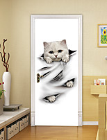 cheap -2pcs Self-adhesive Creative Cute Little White Cat Door Stickers For Living Room Diy Decorative Home Waterproof Wall Stickers