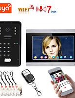 cheap -7 Inch TUYA 1/2/3 Monitor WIFI RFID Video Door Phone System Home Intercom with Remote APP UnlockingRecording