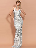 cheap -Mermaid / Trumpet Beautiful Back Sexy Engagement Formal Evening Dress V Neck Sleeveless Sweep / Brush Train Spandex with Pattern / Print 2021