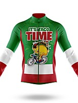 cheap -21Grams Men's Long Sleeve Cycling Jersey Spandex Polyester Green Animal Bike Jersey Top Mountain Bike MTB Road Bike Cycling Quick Dry Moisture Wicking Breathable Sports Clothing Apparel / Athleisure
