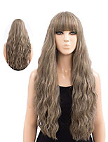 cheap -netgo long ash brown wigs for women, natural looking heat resistant long curly wig for girls ladies cosplay party daily wear premium durable