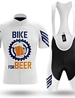 cheap -Men's Short Sleeve Cycling Jersey with Bib Shorts Winter Summer Spandex White Gear Bike Quick Dry Breathable Sports Letter & Number Mountain Bike MTB Road Bike Cycling Clothing Apparel / Stretchy