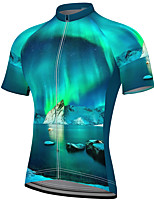 cheap -21Grams Men's Short Sleeve Cycling Jersey Summer Spandex Polyester Blue Bike Jersey Top Mountain Bike MTB Road Bike Cycling Quick Dry Moisture Wicking Breathable Sports Clothing Apparel / Athleisure