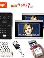 cheap -TUYA Video Intercom WIFI RFID Video Door Phone System Home  Intercom with 2 Monitor 7 Inch Support Remote APP Unlocking Recording
