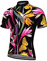 cheap -21Grams Men's Short Sleeve Cycling Jersey Summer Spandex Polyester Black Butterfly Floral Botanical Bike Jersey Top Mountain Bike MTB Road Bike Cycling Quick Dry Moisture Wicking Breathable Sports