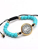 cheap -catholic adjustment rope saint benedict rosary turquoise beaded bracelet prayer beads bracelet