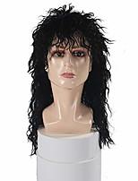 cheap -men's 80s wig black mullet wigs halloween costume male wig punk heavy metal rocker wig curly long