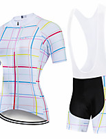 cheap -CAWANFLY Women's Short Sleeve Cycling Padded Shorts Cycling Jersey with Bib Shorts Cycling Jersey with Shorts Summer Spandex White Blue+White Black+White Bike Shorts Breathable Sports Geometic