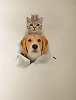 cheap -3D Broken-Wall Dog and Cat Folded Cartoon Home Children's Room Background Decoration Can Be Removed Stickers