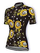 cheap -21Grams Women's Short Sleeve Cycling Jersey Summer Spandex Polyester Black Floral Botanical Bike Jersey Top Mountain Bike MTB Road Bike Cycling Quick Dry Moisture Wicking Breathable Sports Clothing