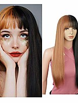 cheap -falamka brown and black wig long straight wig with bangs for women cosplay costume halloween (brown)