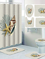 cheap -Conch and Starfish Digital Printing Four-piece Shower Curtain Hook Modern Polyester Machined Waterproof Bathroom