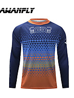 cheap -CAWANFLY Men's Long Sleeve Cycling Jersey Dirt Bike Jersey Winter Blue+Orange Novelty Funny Bike Tee Tshirt Jersey Compression Socks Mountain Bike MTB Road Bike Cycling Breathable Sports Clothing