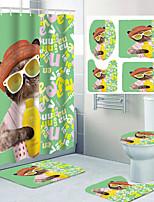 cheap -Cute Cat Bathing Pattern Printing Bathroom Shower Curtain Leisure Toilet Four-piece Design