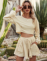 cheap -Women's Basic Solid Color Casual / Daily Home Two Piece Set Crop Tracksuit T shirt Loungewear Biker Shorts Drawstring Tops