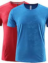 cheap -Men's T shirt Hiking Tee shirt Short Sleeve Tee Tshirt Top Outdoor Quick Dry Lightweight Breathable Sweat wicking Summer Navy Kong Lan White Camping / Hiking Fishing Climbing