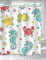 cheap -Simple Plank Marine Elements Digital Printing Shower Curtain Shower Curtains Hooks Modern Polyester New Design