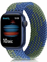 cheap -Smartwatch band braided elastic strap compatible with apple watch 42mm 44mm, woven solo loop replacement sport watch strap for iwatch series 6/5/4/3/2/1 / se ( blue green)