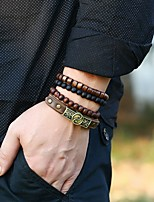 cheap -Men's Bead Bracelet Stacking Stackable Fashion Artistic Vintage Leather Bracelet Jewelry Brown For Party Evening Gift Formal Date Festival / Wood