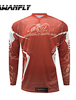 cheap -CAWANFLY Men's Long Sleeve Cycling Jersey Dirt Bike Jersey Winter Red and White Novelty Funny Bike Tee Tshirt Jersey Compression Socks Mountain Bike MTB Road Bike Cycling Breathable Sports Clothing