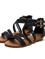 cheap -Girls' Sandals Comfort Roman Shoes PU Little Kids(4-7ys) Big Kids(7years +) Daily Buckle Almond Black Green Spring Summer