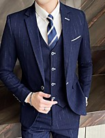 cheap -Men's Wedding Suits Notch Standard Fit Single Breasted One-button Plaid / Check Polyester