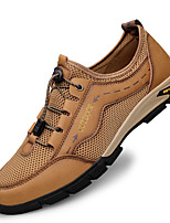 cheap -Men's Sandals Crochet Leather Shoes Flat Sandals Casual Beach Daily Outdoor Trail Running Shoes Nappa Leather Cowhide Breathable Handmade Non-slipping Booties / Ankle Boots Light Brown Dark Brown