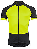 cheap -21Grams Men's Short Sleeve Cycling Jersey Summer Spandex Polyester Green / Black Patchwork Bike Jersey Top Mountain Bike MTB Road Bike Cycling Quick Dry Moisture Wicking Breathable Sports Clothing