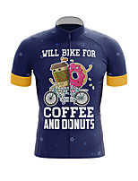 cheap -21Grams Men's Short Sleeve Cycling Jersey Summer Spandex Polyester Dark Blue Bike Jersey Top Mountain Bike MTB Road Bike Cycling Quick Dry Moisture Wicking Breathable Sports Clothing Apparel