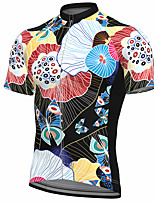 cheap -21Grams Men's Short Sleeve Cycling Jersey Summer Spandex Polyester Black Floral Botanical Bike Jersey Top Mountain Bike MTB Road Bike Cycling Quick Dry Moisture Wicking Breathable Sports Clothing