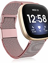 cheap -funbiz metal bracelet compatible with fitbit versa 3 bracelet / fitbit sense bracelet, stainless steel metal replacement bracelet with adjustable size for women men, large rose gold