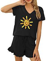 cheap -Women Basic Streetwear Print Vacation Casual / Daily Two Piece Set Tracksuit T shirt Loungewear Shorts Drawstring Ruffle Print Tops